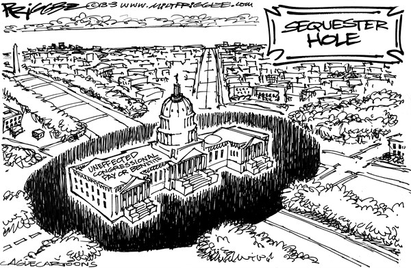 Milt Priggee - www.miltpriggee.com - Sequester Hole - English - sequester, congress, cuts,