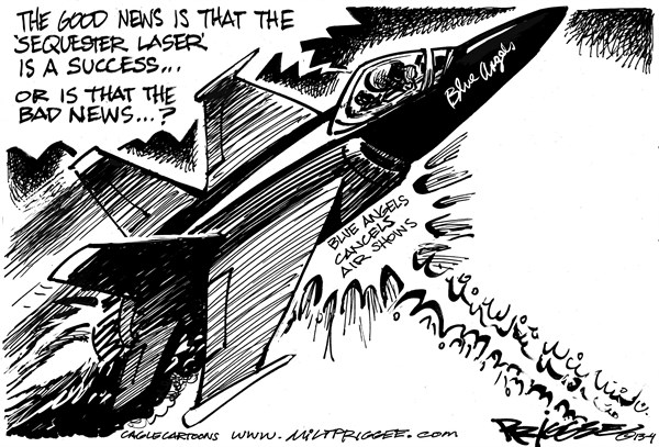 Milt Priggee - www.miltpriggee.com - Air Shows cancelled - English - 	blue angels, air shows, military, budget, sequester. austerity.