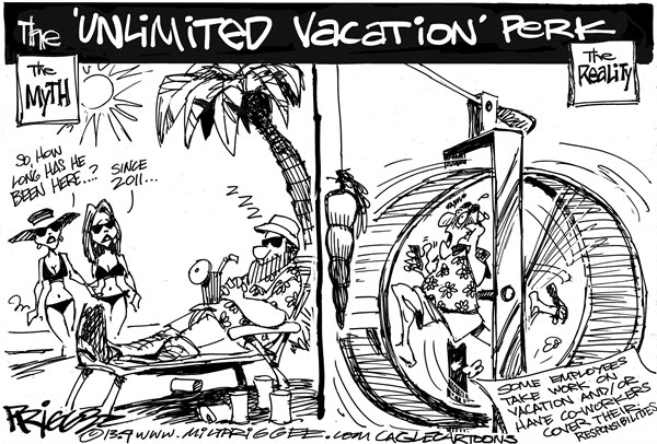 Workation © Milt Priggee,www.miltpriggee.com,america, employment, work, employee, vacations, co-workers, myth, reality, vacation, business, economy