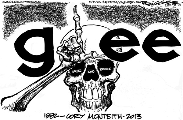 Monteith obit © Milt Priggee,www.miltpriggee.com,cory monteith, obit, actor, glee, tv, overdose, drugs, booze