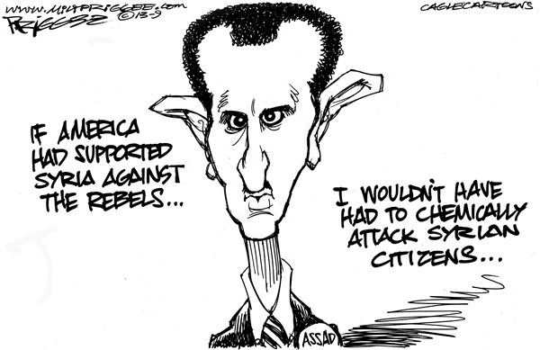 Milt Priggee - www.miltpriggee.com - Syria - English - syria, assad, chemical weapons, civil war, missile strike, united states,