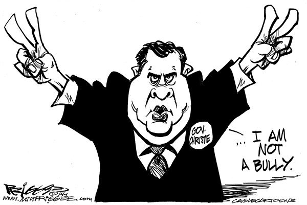 Bully © Milt Priggee,www.miltpriggee.com,bully, new jersey, governor, Chris Christie, liar, traffic