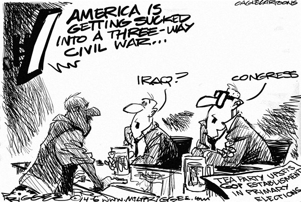 Tea Party © Milt Priggee,www.miltpriggee.com,tea party, iraq, congress, elections, gridlock, three-way civil war, primary, GOP, republicans, primary elections, establishment,