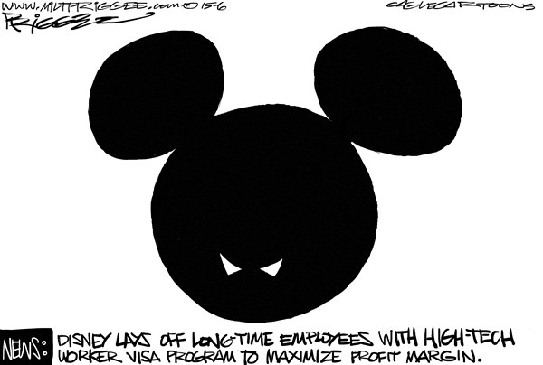 Visa Program Abuse © Milt Priggee,www.miltpriggee.com,Disney, H-1B visa, immigrants, high-tech workers, outsource, labor, United States, government, America, lay-offs,