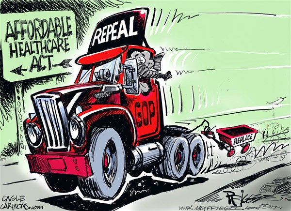 Milt Priggee - www.miltpriggee.com - RnR - English - replace, repeal, GOP, affordable healthcare, Obamacare, politics, republicans,