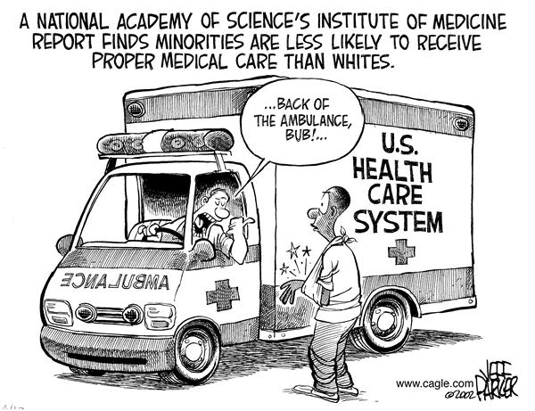Parker - Florida Today - Bad Minority Medical Care - English - minority, minorities, medical, care, whites, institute, science, medicine