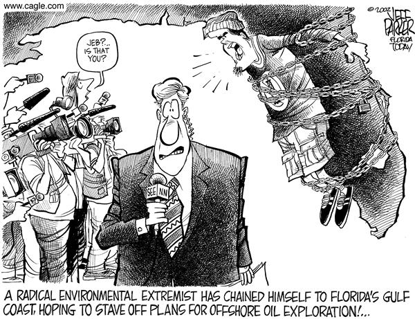 Parker - Florida Today - Jeb Bush Oil Drilling - English - Jeb Bush, oil, drilling, environment, extremist, chained, coast, radical, offshore