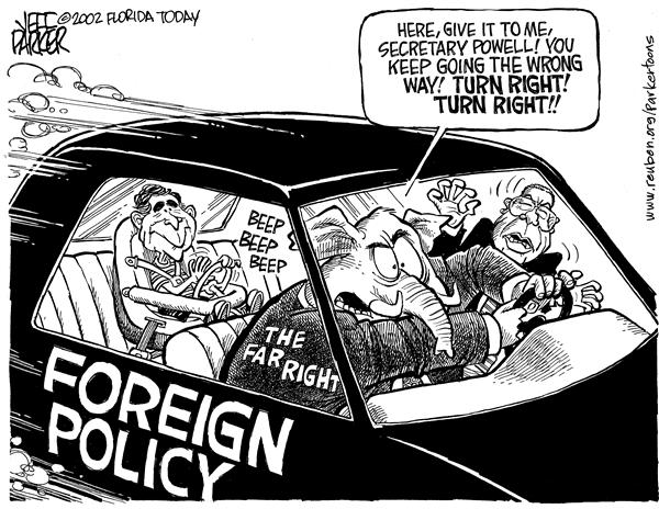 Parker - Florida Today - Who's driving foreign policy - English - Bush, Powell, GOP, right wing, far right, foreign policy, state department, UN treaties