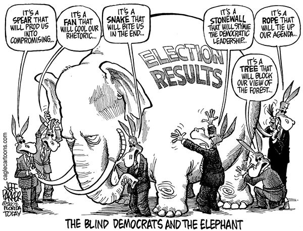 Parker - Florida Today - The Blind Dems and the Elephant - English - Election, results, Republican, Democrat, control, power