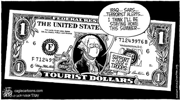Parker - Florida Today - Staying Home - English - Iraq terrorism SARS tourism tourist dollars