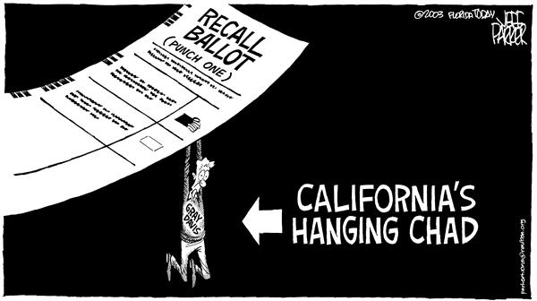 Califs Hanging Chad © Parker,Florida Today,California recall punch card ballot court ruling