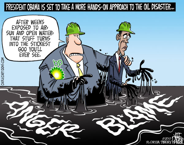 Parker - Florida Today - Mixing Anger and Blame COLOR - English - environment, oil, offshore, disaster, Gulf of Mexico, federal, response, President, Obama, attention, BP, spill, leak, slick