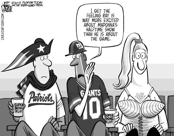 Parker - Florida Today - Super Bowl Super Fans - English - sports, football, NFL, championship, Super Bowl, New England Patriots, New York Giants, game, Madonna, half, time, show, fans