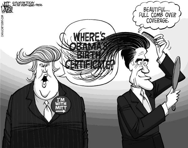 Jeff Parker - Florida Today and the Fort Myers News-Press - Romney's Trump Comb Over - English - Mitt Romney, Donald Trump, birther, fundraiser, support, endorsement, birth, certificate, Obama, born, US, citizen, tea party, campaign, presidential, base