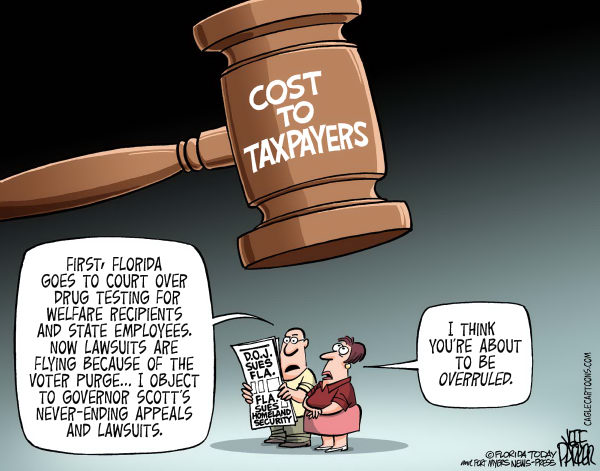 Jeff Parker - Florida Today and the Fort Myers News-Press - LOCAL FL State of Fla Lawsuit Costs - English - Florida, state, Rick Scott, court, appeals, sue, lawsuit, Department of Justice, Homeland Security, drug, testing, welfare, recipient, worker, employee, blocked, ruled, against, struck, cost, taxpayer, gavel, objection, overrule
