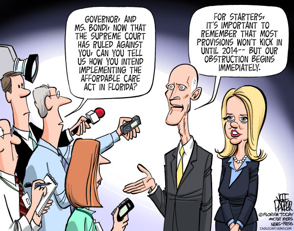 Parker - Florida Today - Implementing the Affordable Care Act COLOR - English - Governor Rick Scott, Attorney General Pam Bondi, Affordable Care Act, healthcare reform, opposition, suit, Supreme Court, ruling, implement, obstruction, kicks in 2014