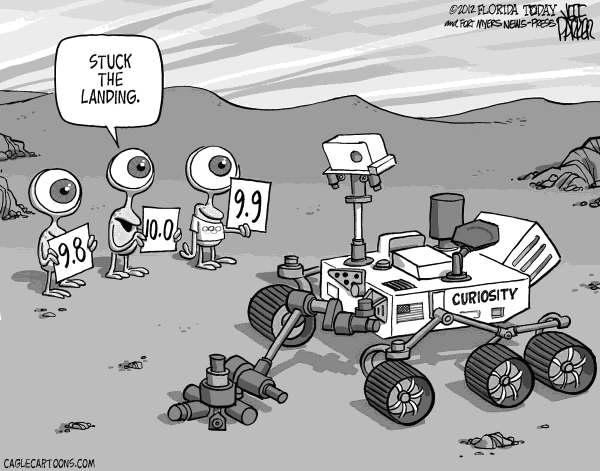 Jeff Parker - Florida Today and the Fort Myers News-Press - Curiosity Landing - English - space, Mars, Curiosity, landing, JPL, NASA, rover, landing, surface, red, planet, olympics, martians, scoring, stuck, the, landing, stick,