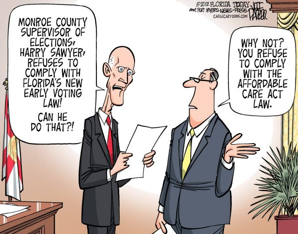 117350 600 LOCAL FL Gov Scott vs Monroe Elections Supervisor cartoons