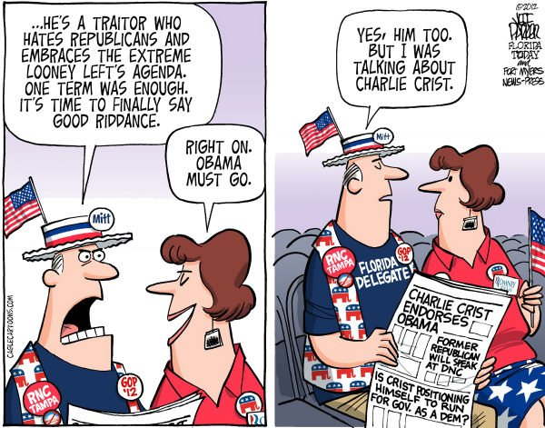 117698 600 LOCAL FL Republican Convention and Charlie Crist cartoons