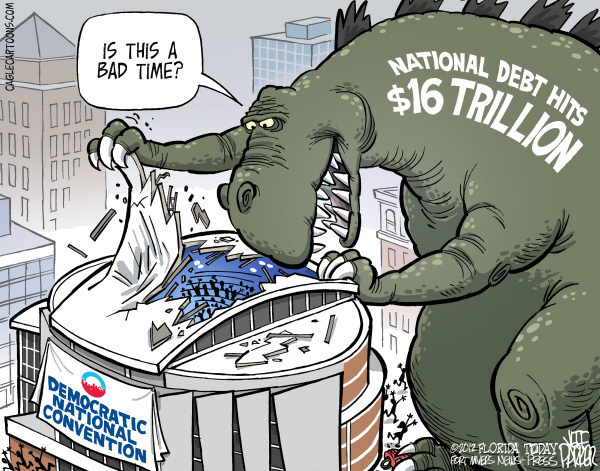 Jeff Parker - Florida Today and the Fort Myers News-Press - Debt and the DNC - English - Democratic National convention, DNC, national debt, 16 Trillion, mark, ceiling, Godzilla