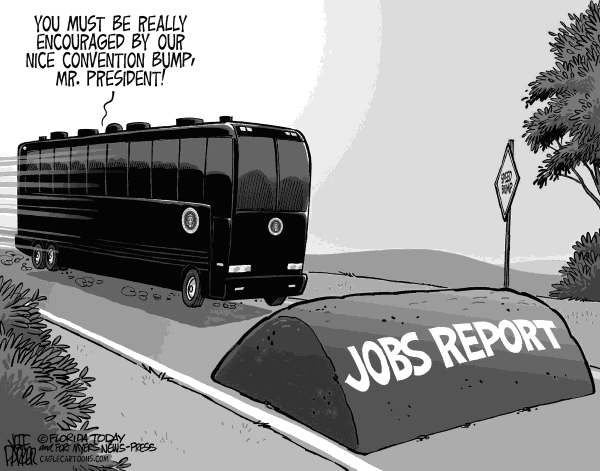Jeff Parker - Florida Today and the Fort Myers News-Press - Obama and Jobs Report Bump - English - President, Barack Obama, campaign, convention, bump, poll, numbers, jobs, report, unemployment, stimulus, election