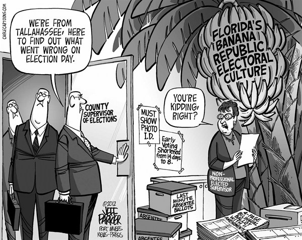 Jeff Parker - The News-Press, Ft Myers, FL - LOCAL FL Florida's Electoral Culture Is Bananas - English - Elections, voting, Florida, county, supervisor, problems, polls, long lines, delays, legislature, mandates, laws, changes, reform, ID, early, ballot, amendments, voter