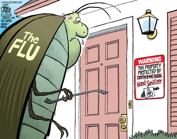 Jeff Parker - Florida Today and the Fort Myers News-Press - Flu Bug Protection - English - health, flu, season, guns, hand, sanitizer, outbreak, prevention