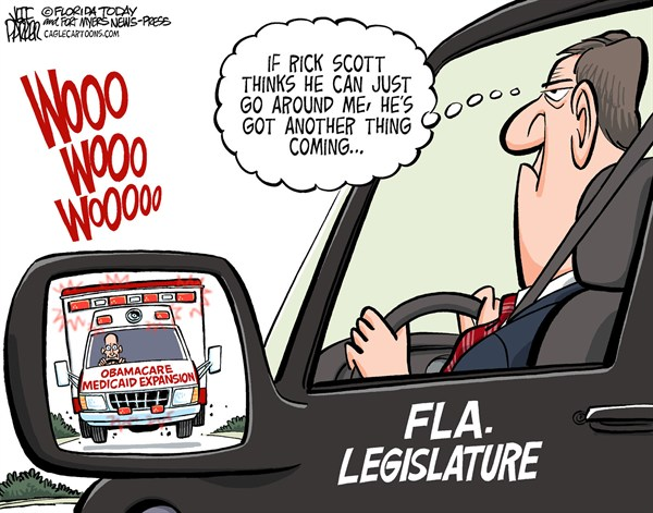 127830 600 LOCAL FL Rick Scott Medicaid and Legislators cartoons