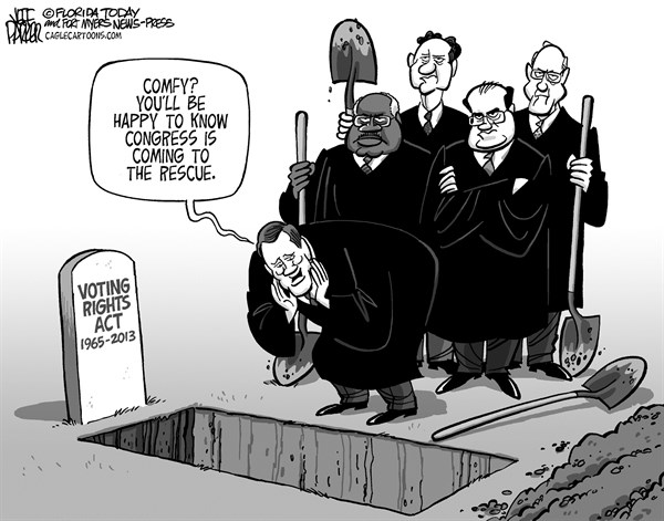 Jeff Parker - Florida Today and the Fort Myers News-Press - SCOTUS Voting Rights Grave - English - SCOTUS, US Supreme Court, voting, rights, act, civil, rights, race, Jim Crow, states, laws, voter, ID, suppression, Republican, legislatures, gerrymandering, poll, early