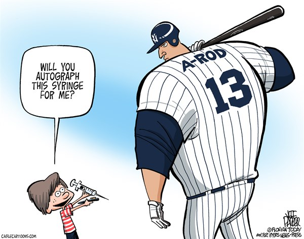A Rod Memorabilia © Jeff Parker,Florida Today and the Fort Myers News-Press,sports,performance,enhancing,drugs,doping,scandal,A-Rod,Alex Rodriguez,arod, baseball, Best Political Cartoons, steroids
