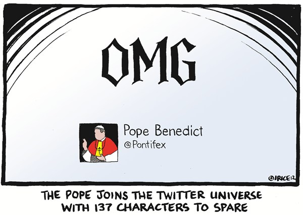 123574 600 Pope joins Twitter cartoons