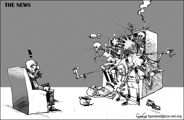 The News © Fares Garabet,Syria,tv,news,violence,killing,viewers