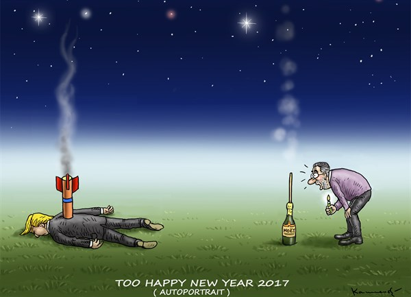 Marian Kamensky - Slovakia - TOO HAPPY NEW YEAR 2017 - English -  HAPPY NEW YEAR 2017,Trump,Marian Kamensky,Caricaturist