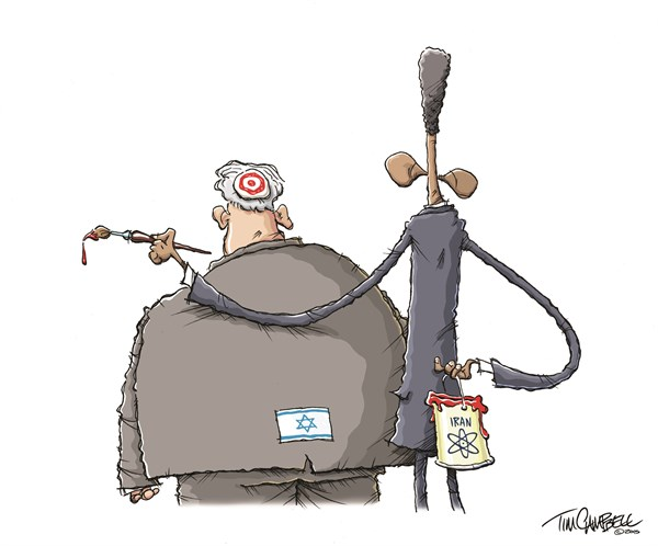Painting A Target © Tim Campbell,Indianapolis,Iran, Israel, Nuclear Deal, Netanyahu, Obama
