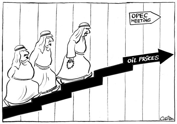 Christo Komarnitski - Bulgaria - The Staircase to OPEC Meeting - BW - English - Political Cartoons, OPEC, Oil, Prices, meeting, chart, graph, staircase, Middle East, mideast
