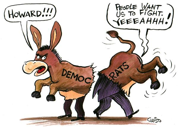 Christo Komarnitski - Bulgaria - Dean And Dems - COLOR - English - Political Cartoons, Democratic Party, Howard Dean, Republicans, GOP, donkey, costume, election, dems