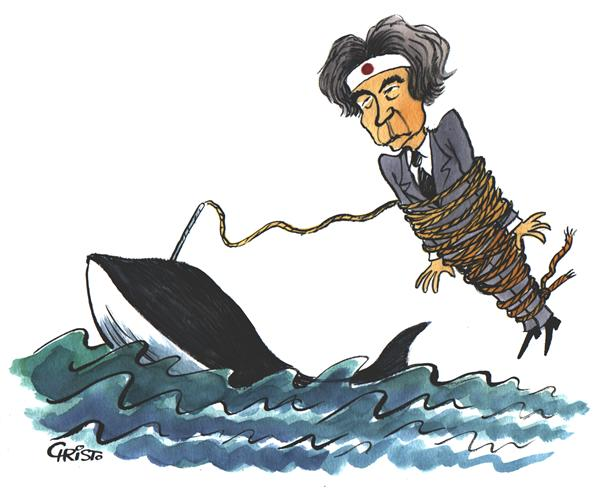 Christo Komarnitski - Bulgaria - Junichiro Koizumi - The Whale Hunter - COLOR - English - Junichiro Koizumi, Japan, Whale Hunting, Political Cartoons