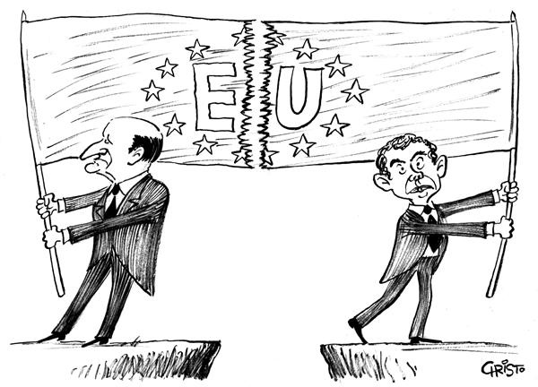 Christo Komarnitski - Bulgaria - Europe Divided - BW - English - Political Cartoons, Jacques Chirac, France, Europe, Constitution, EU, Netherlands, Tony Blair, Non, No, Budget, Britain, divided, flag, European Union