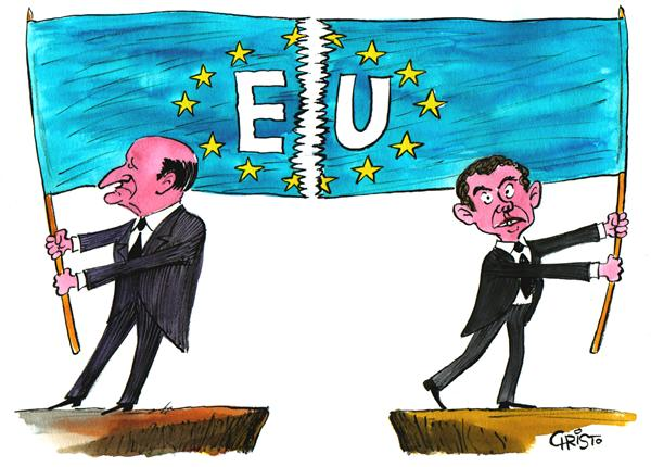 Christo Komarnitski - Bulgaria - Europe Divided - COLOR - English - Political Cartoons, Jacques Chirac, France, Europe, Constitution, EU, Netherlands, Tony Blair, Non, No, Budget, Britain, divided, flag, European Union