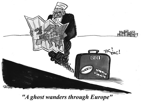 Christo Komarnitski - Bulgaria - A ghost of terrorism wanders through Europe - B&W - English - Political Cartoons, Terror, London, War, al-Qaeda, map, Europe, ghost, terrorism, wanders, time bomb