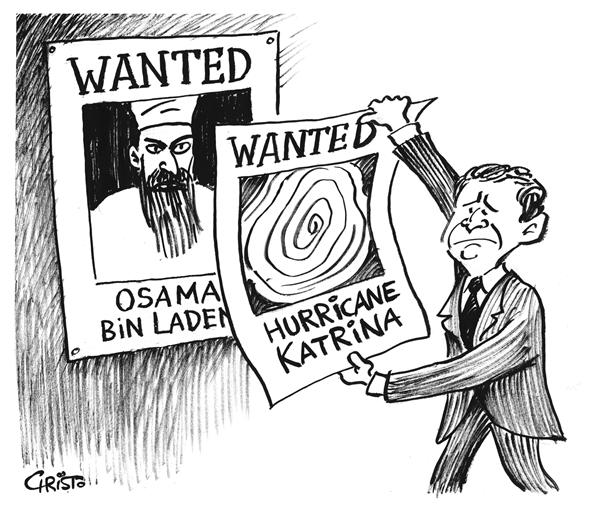 Christo Komarnitski - Bulgaria - Wanted Dead or Alive - B&W - English - Political Cartoons, Hurricane Katrina, War, New Orleans, President George Bush, Terror, Ossama bin Laden, wanted sign, dead or alive