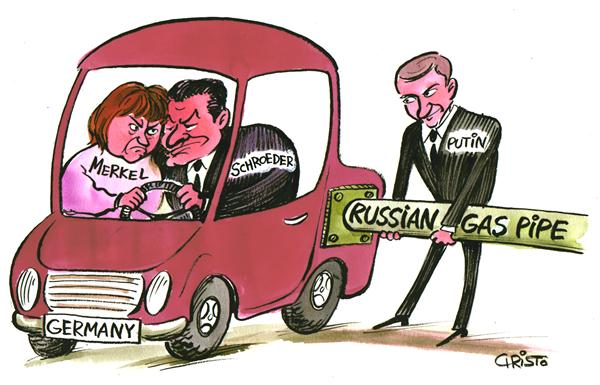 Christo Komarnitski - Bulgaria - German-Russian gas pipeline deal - COLOR - English - Political Cartoons, Germany, Russia, German-Russian gas pipeline deal, Putin, Schroeder, Merkel, Elections, Europe