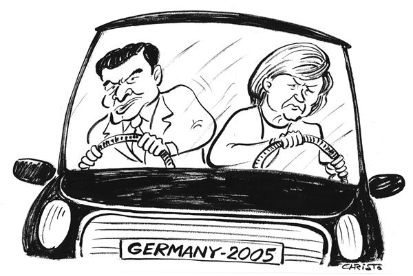 Christo Komarnitski - Bulgaria - Germany after the election - B&W - English - Political Cartoons, Angela Merkel Schroeder, Germany, Election