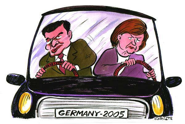 Christo Komarnitski - Bulgaria - Germany after the election - COLOR - English - Political Cartoons, Angela Merkel Schroeder, Germany, Election