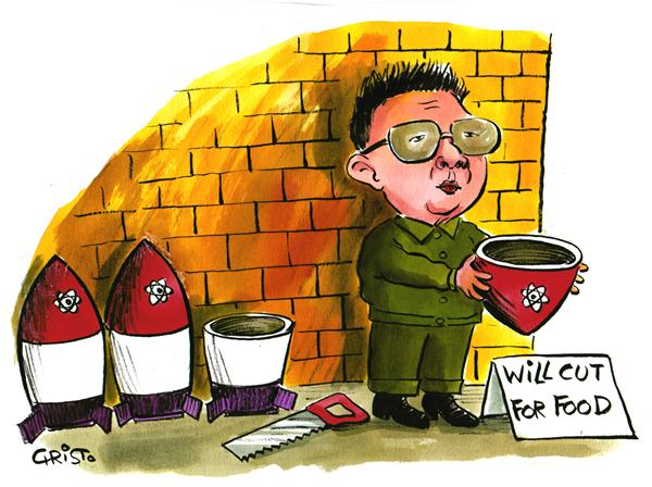 Christo Komarnitski - Bulgaria - Kim Jong-Il will cut for food - COLOR - English - Kim Jong-Il, North Korea, nuclear weapons, Nuke, Political Cartoons, will cut for food, bomb, WMP, weapons of mass desctruction