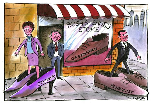 Bush's Shoe Store - COLOR © Christo Komarnitski,Bulgaria,President Bush, Shoes, Political Cartoons, White House, Harriet Miers, Supreme Court, Justice Sandra Day O'Connor, Caricature, John Roberts, United States, chief justice Rehnquist