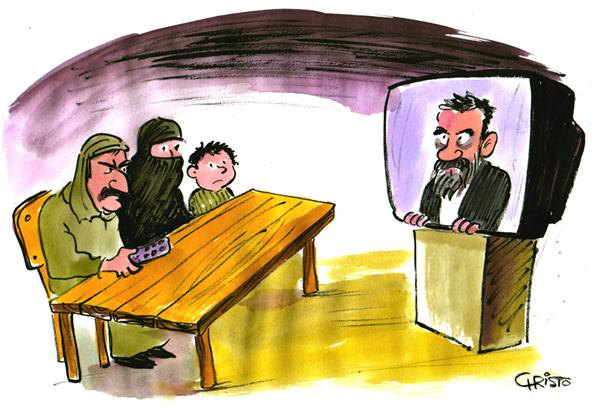 Christo Komarnitski - Bulgaria - Saddam's Trial - COLOR - English - Saddam Hussein, Trial, Iraq, War, President, Political Cartoon, Middle East, terror, Muslims