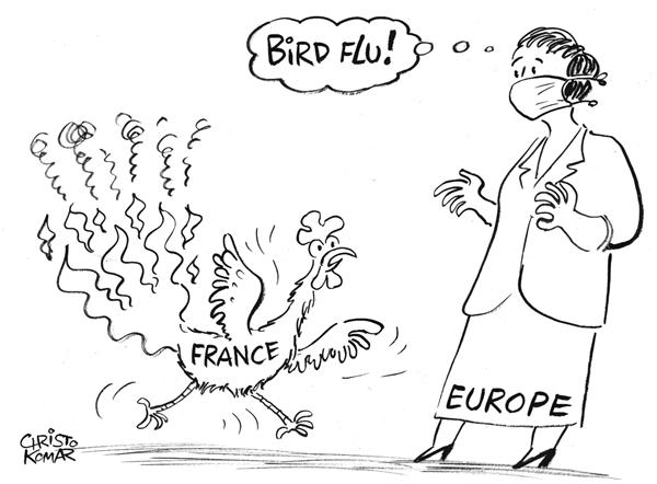 Christo Komarnitski - Bulgaria - French Rooster on Fire 2 - B&W - English - French, riots, France, Europe, Paris, Political Cartoons, EU, Bird Flu, fire, nurse, European Union, rooster