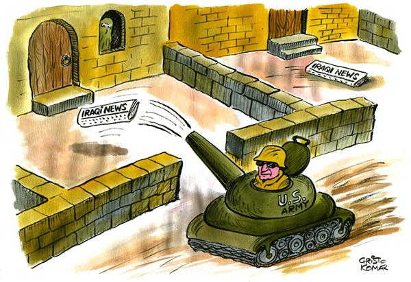 Christo Komarnitski - Bulgaria - Paperboy in Baghdad - COLOR - English - Paperboy, Baghdad, Iraq, Press, Political Cartoons, Pentagon, Propaganda, War, US military, Army, tank, newspaper, media