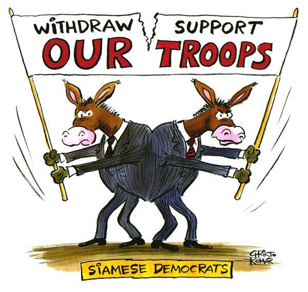 Christo Komarnitski - Bulgaria - Siamese Democrats - COLOR - English - Siamese, Democrats, Iraq, War, Troops, Withdrawal, Political Cartoons, Senator, twins, sign, military, terror, middle east